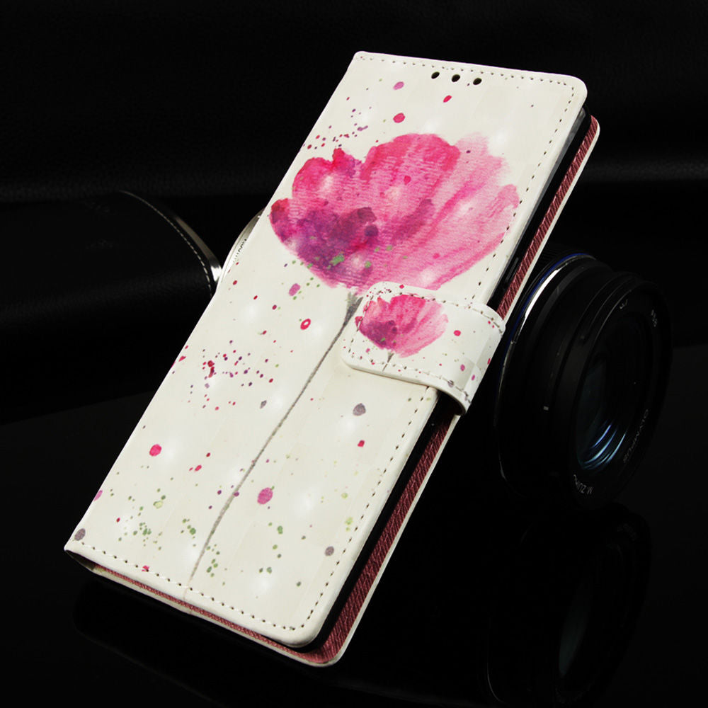 PU Leather Wallet Huawei P30 Case with Card Slots Flip Folio Cover 3D Painting Orchid