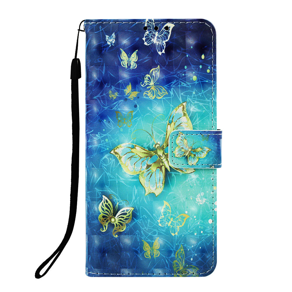 Huawei P30 Wallet with Card Slots Kickstand Shockproof Flip Case 3D Painting Butterfly