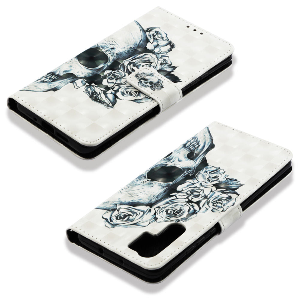 Huawei P30 Pro Wallet Case Card Slot 3D Drawing Flip Cover Skull