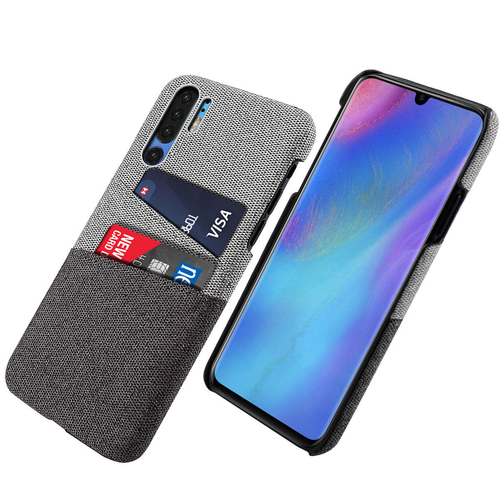 Huawei P30 Pro Case Slim Fit Protective Hard Hybrid Cover with Card Slots Black