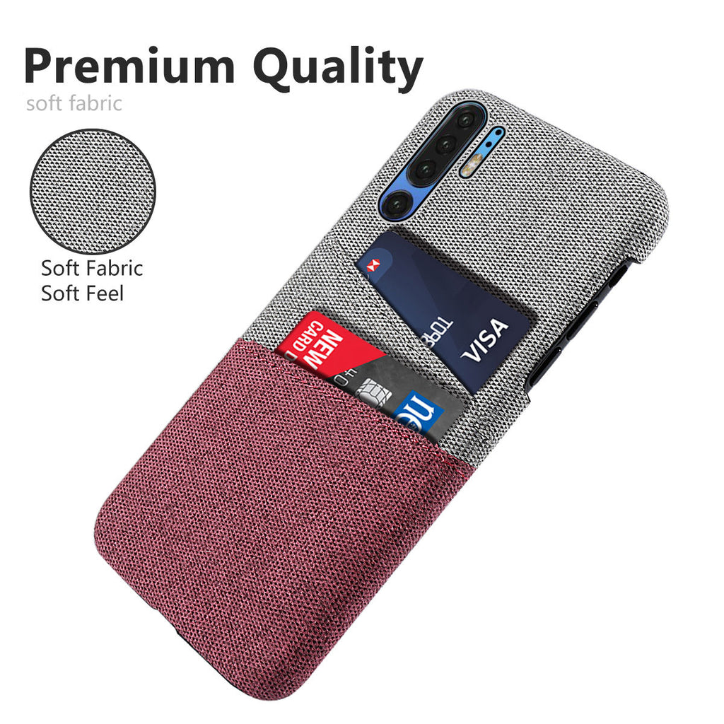 Huawei P30 Pro Case Anti Scratch Fabric Protective Cover with Card Slots Red
