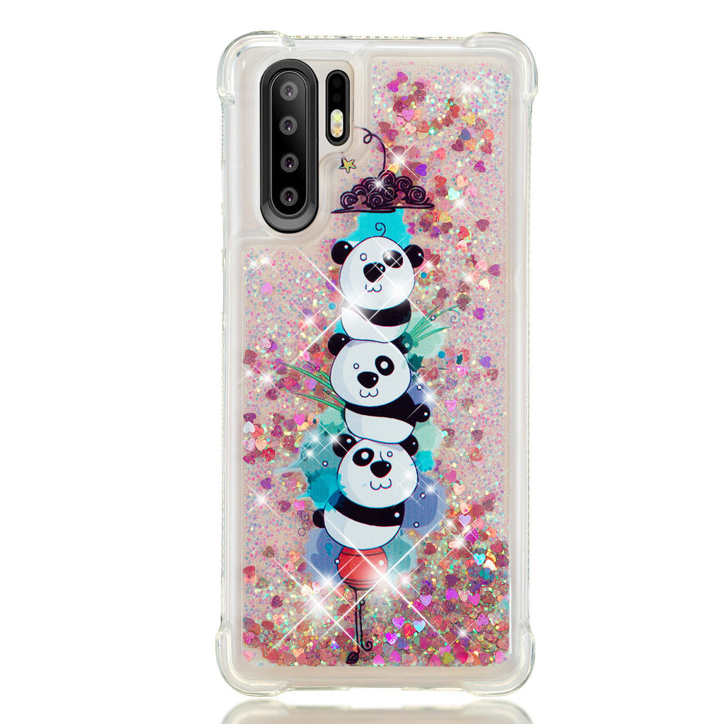 Huawei P30 Pro Spakle Flowing Liquid Case TPU Shock-proof Case for Girls Pandas