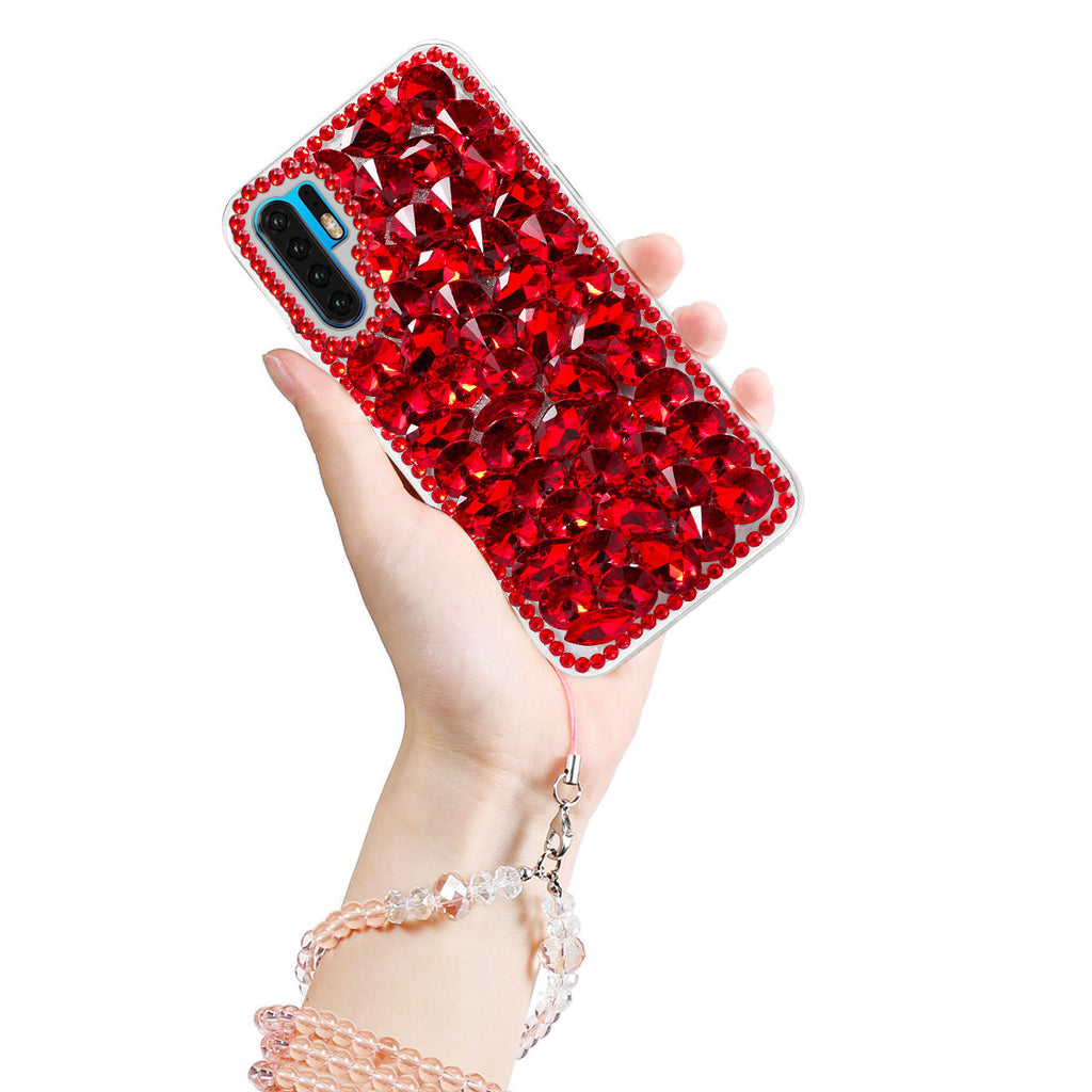 Huawei P30 Pro Case Glitter Bling Sparkle Case for Grils&Women TPU Back Cover Red