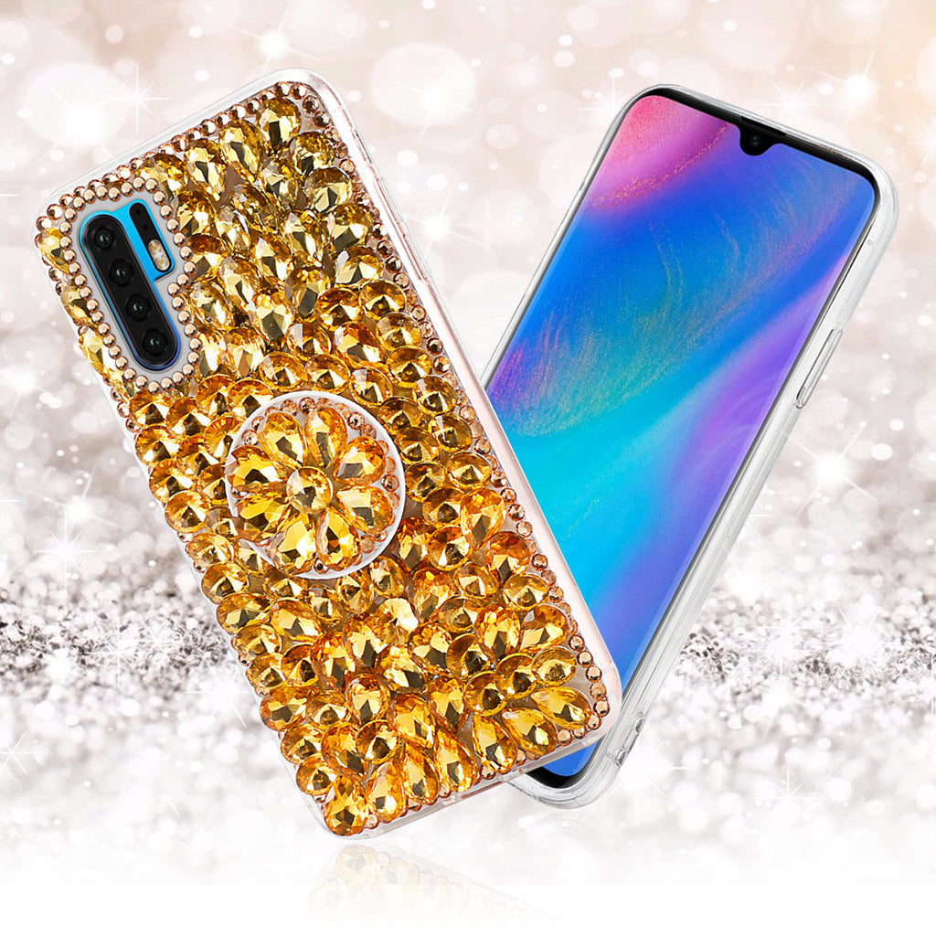 Huawei P30 Pro Glitter Sparkle Bling Case Soft TPU Bumper Shell with Bracket Yellow