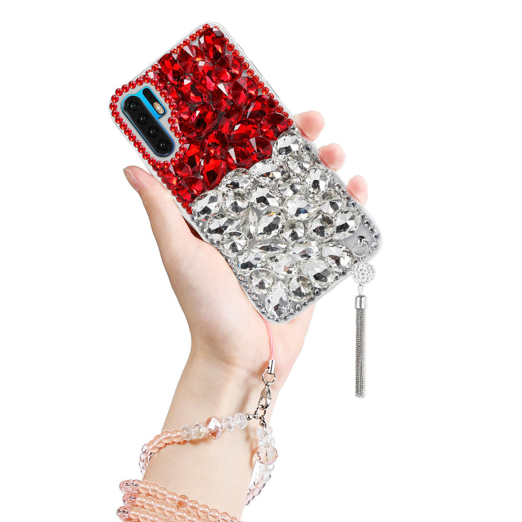 Huawei P30 Pro TPU Bumper Case Glitter Crystal Rinestone Shockproof Cover White&Red
