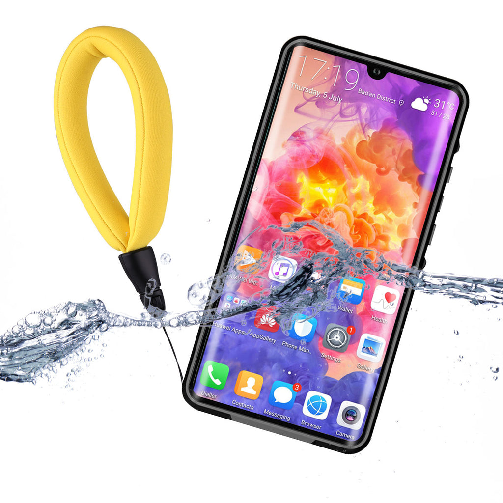 Huawei P30 Waterproof Case IP68 Certified Built-in Screen  with Floating Strap Black