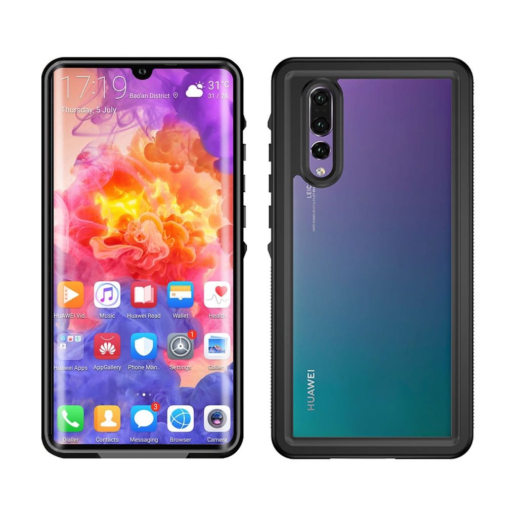 Huawei P30 Waterproof Case IP68 Certified Built-in Screen Protector Touch ID Black