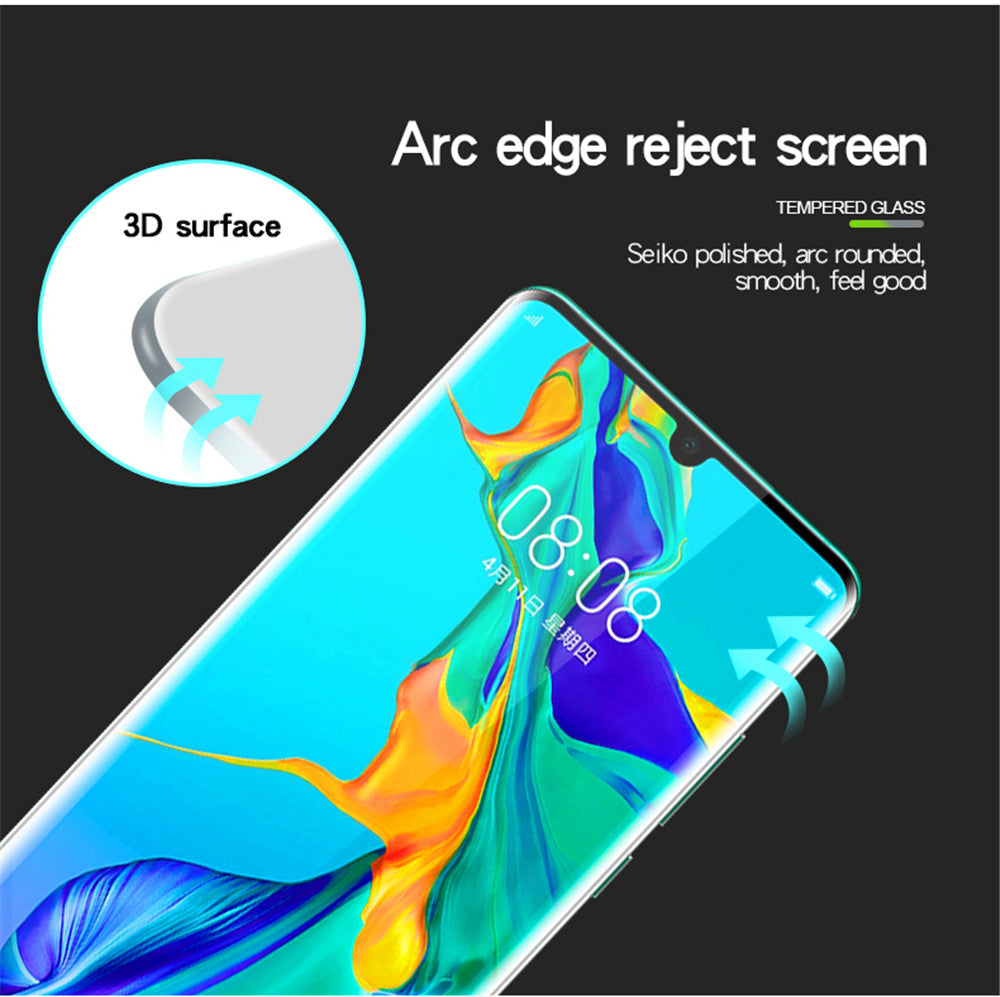 1 Pack Huawei P30 Pro Tempered Glass Screen Protector 3D Curved Film Anti-Scratch Screen Cover