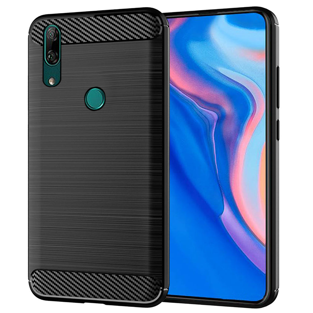 Huawei Y9 Prime 2019 Case Shock Absorbent Carbon Fiber Protective Cover Black
