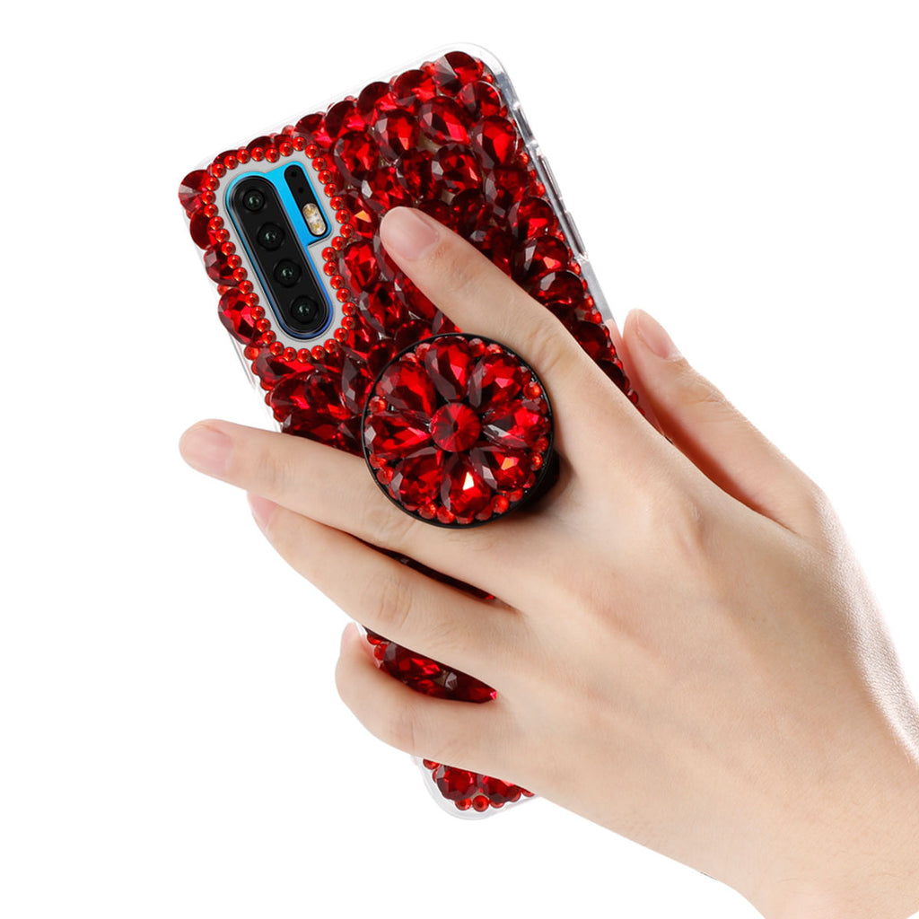 Huawei P30 Pro Case Heavy Duty Protection TPU Glitter Crystal Cover with Bracket Red