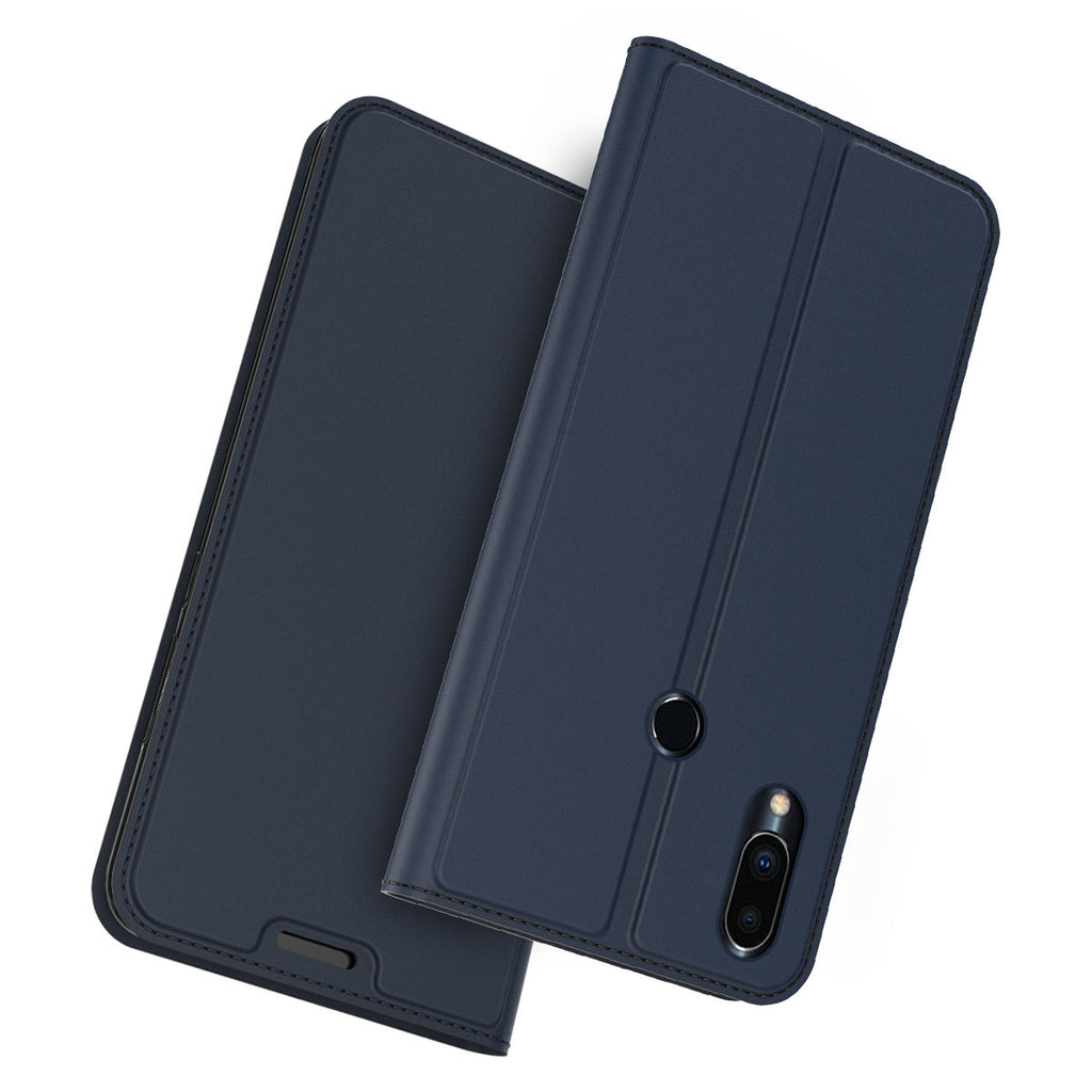 Meizu Note 9 Leather Case Card Slot Luxury PU Flip Folio Protective Cover Blue
