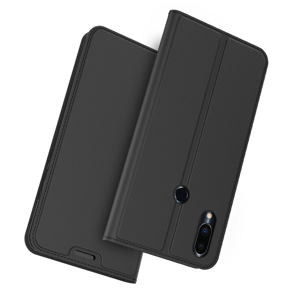Meizu Note 9 Wallet Case with Kickstand Function Card Slot Luxury Flip Leather Black