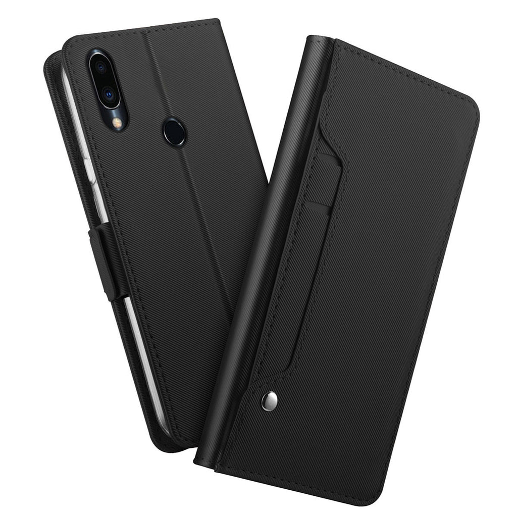 Meizu Note 9 Wallet Case with Card Holders Mirror Folder Stand Folio Cover Black