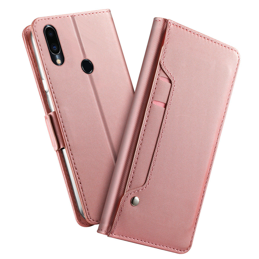 Meizu Note 9 Wallet Case with Card Holders Folding Flip Leather with Mirror Rose Gold
