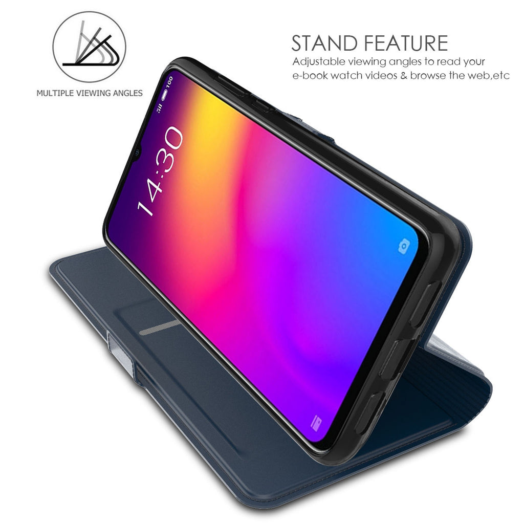Meizu Note 9 Wallet Case Card Holder Protective PU Cover Blue