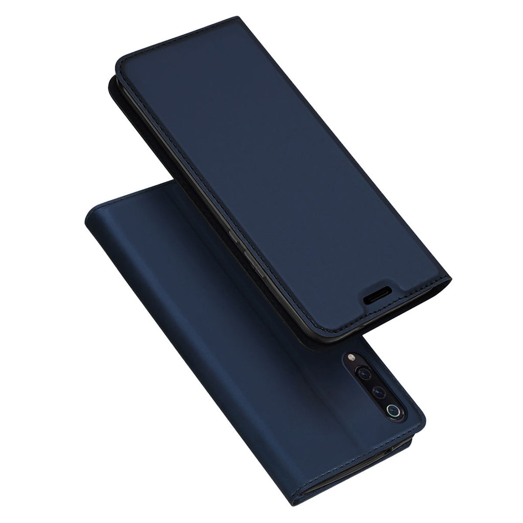 Xiaomi Mi 9 Mi 9 Explore PU Leather Wallet Case Slimmest Full-round Protective Flip Cover Blue