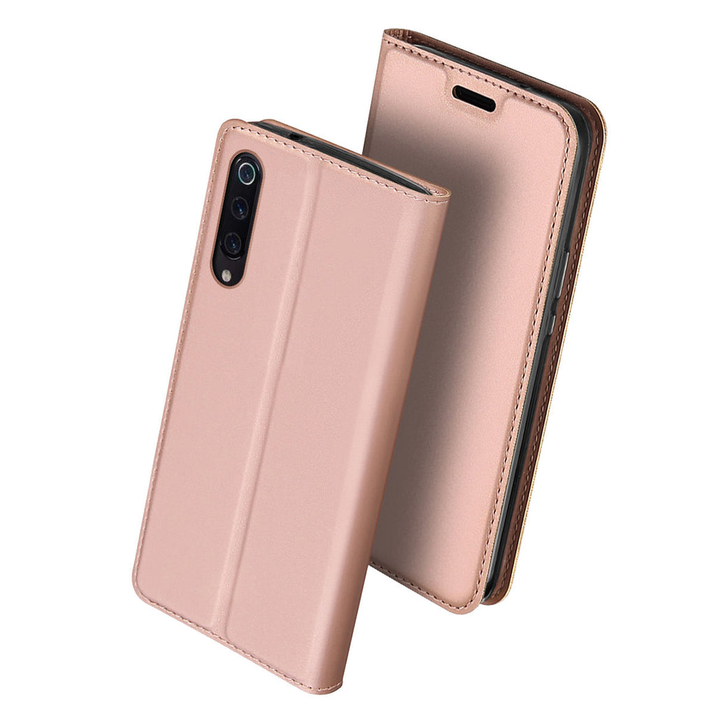 Xiaomi Mi 9 Mi 9 Explore Cell Phone Case Slim Fit Card Slot PU Wallet Cover Kickstand Rose Gold