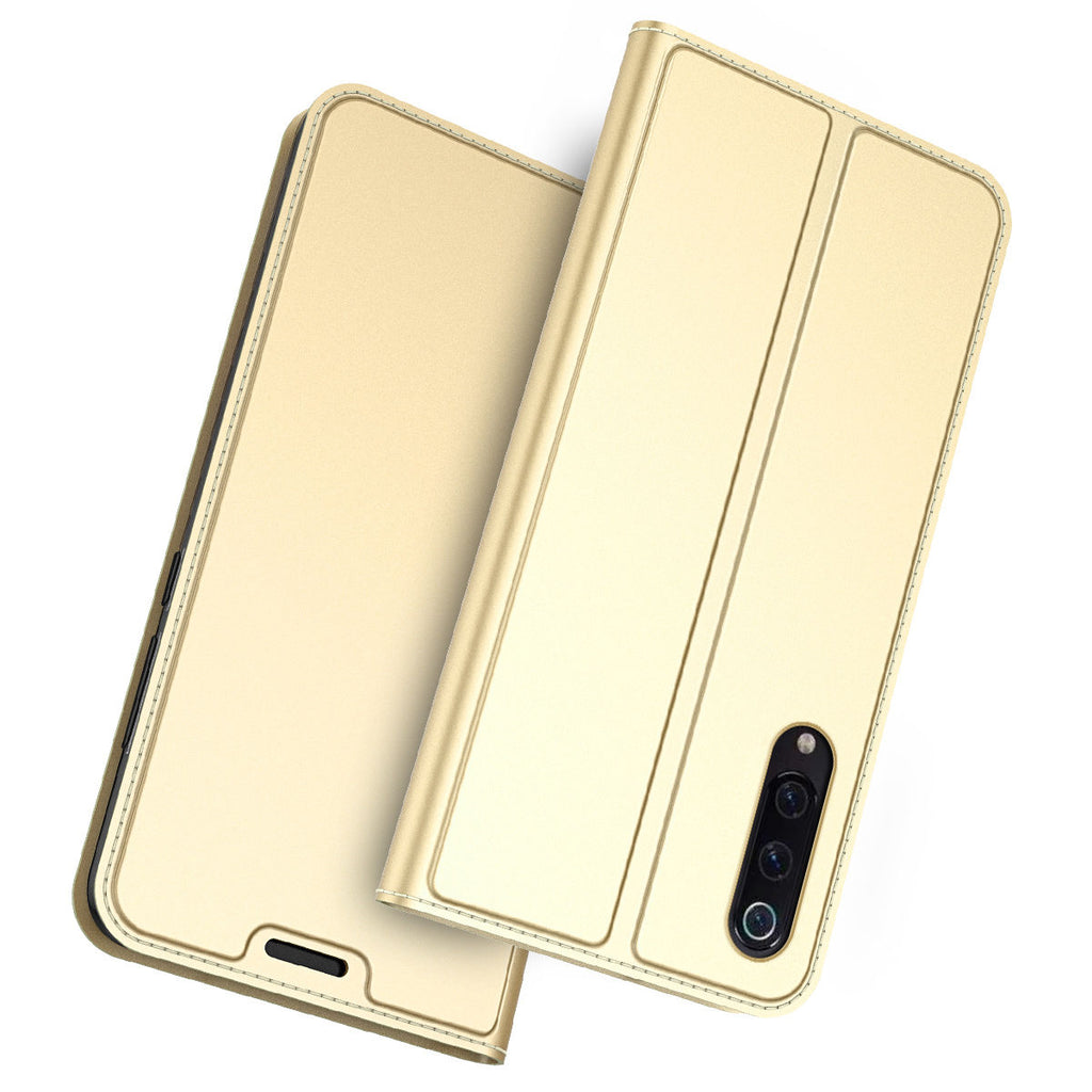 Protective Case Xiaomi Mi 9 Flip Kickstand Ultra Thin Card Holder Wallet Gold