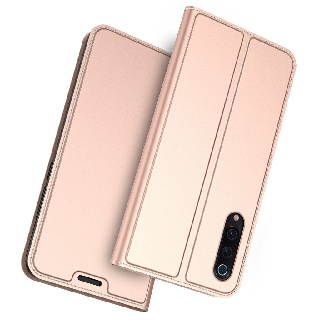 Xiaomi Mi 9 Mi 9 Explore Case PU Leather Wallet Card Slot Simple Slim Fit with Kickstand Rose Red