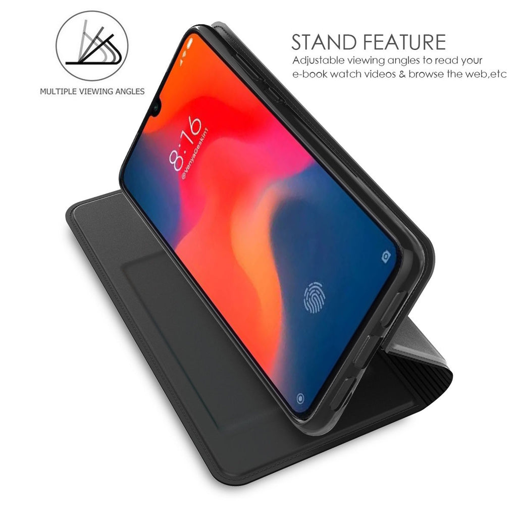 For Xiaomi Mi 9 Mi 9 Explore PU Leather Case Flip Slim Card Slot Magnetic Closure Kickstand Black