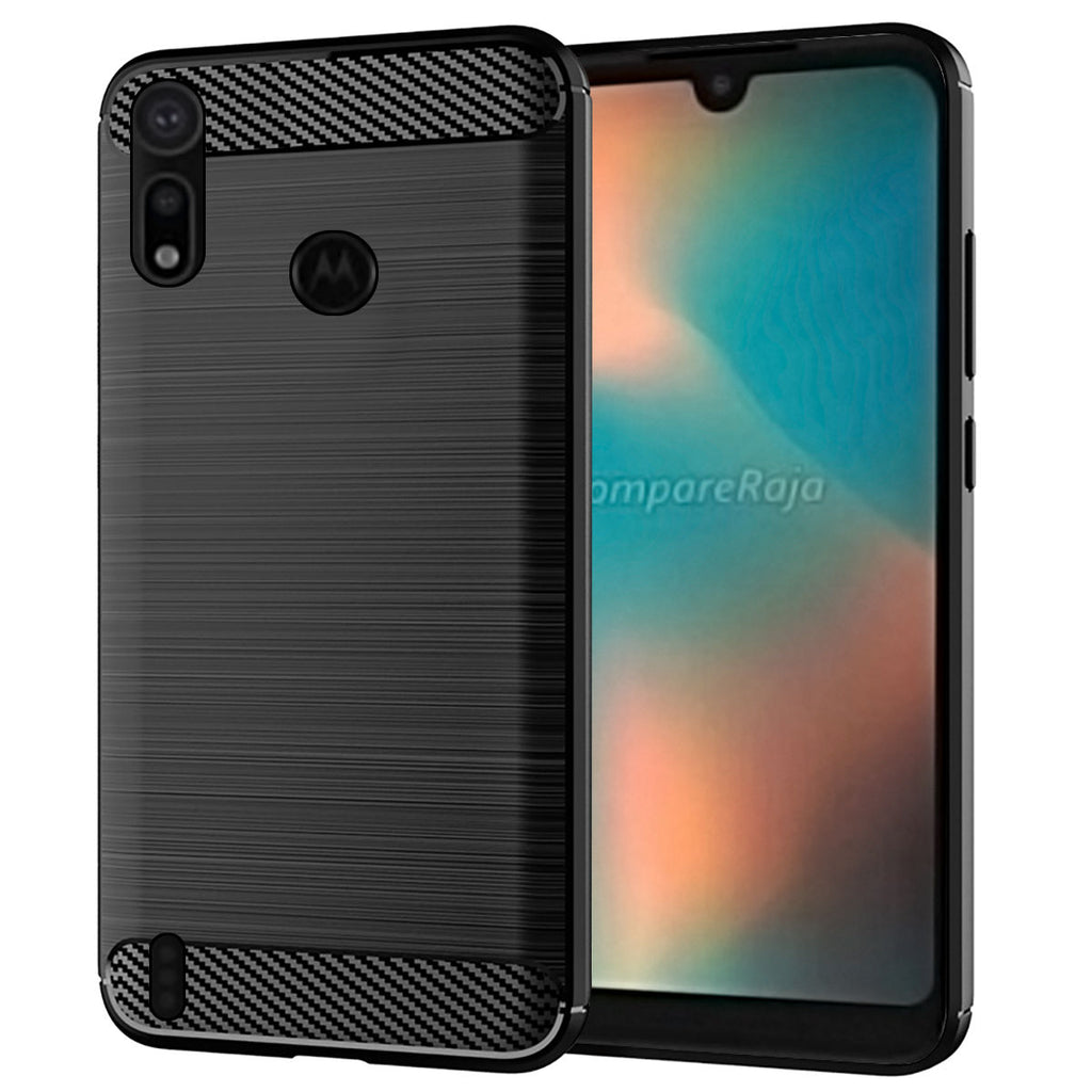 Case for Moto P40 Play Carbon Fiber Shockproof Rugged Thin Cover Black