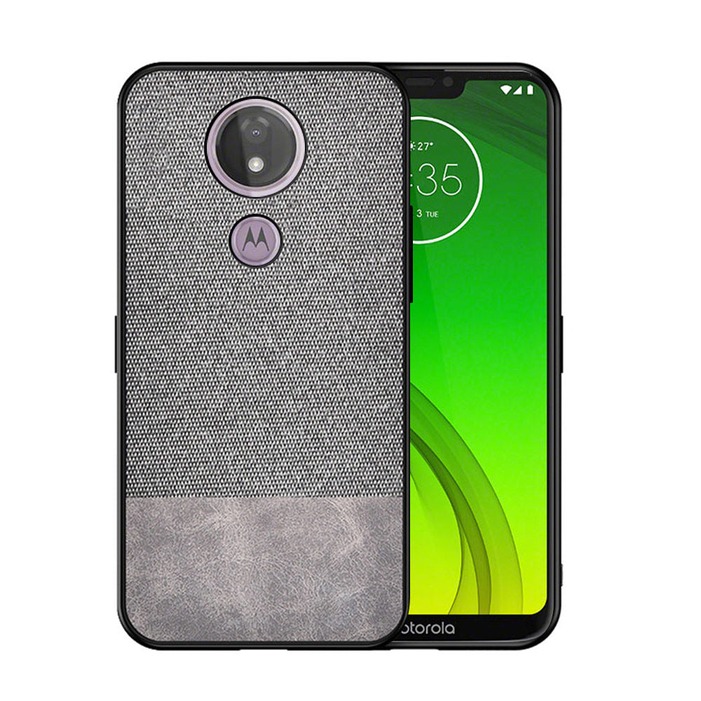 Moto G7 Case Ultra Thin Fabric Hybrid Shockproof Phone Cover Grey