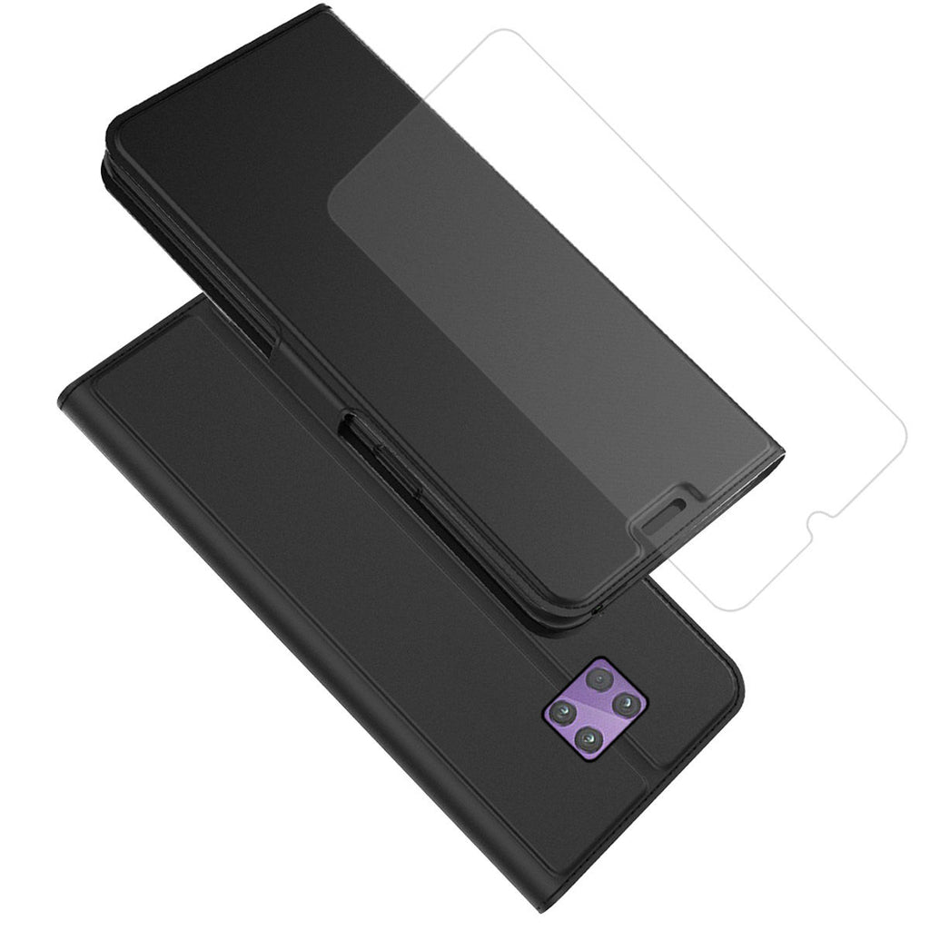 Motorola One Pro Wallet Case Flip Stand  + 1pack Tempered Glass Screen Protector
