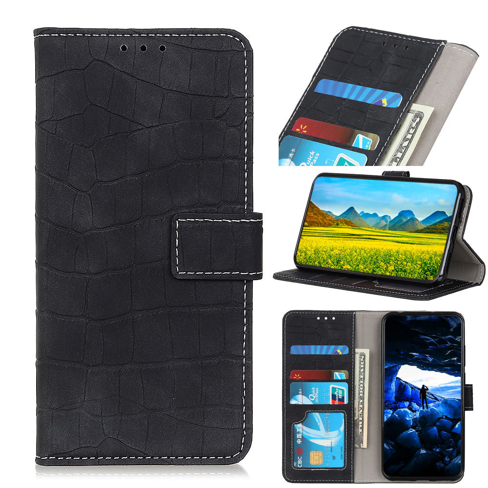Wallet Case for Motorola One Vision Shock-proof Protective Flip Cover with Card Holder Black