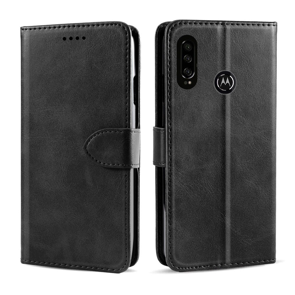 Motorola One Vision Wallet Case Concise Leather Cover with Credit Card Holder Black