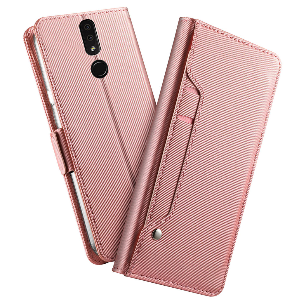 OPPO A9 Leather Wallet Case Flip Protective Cover with Card Slot & Mirror Rose Red