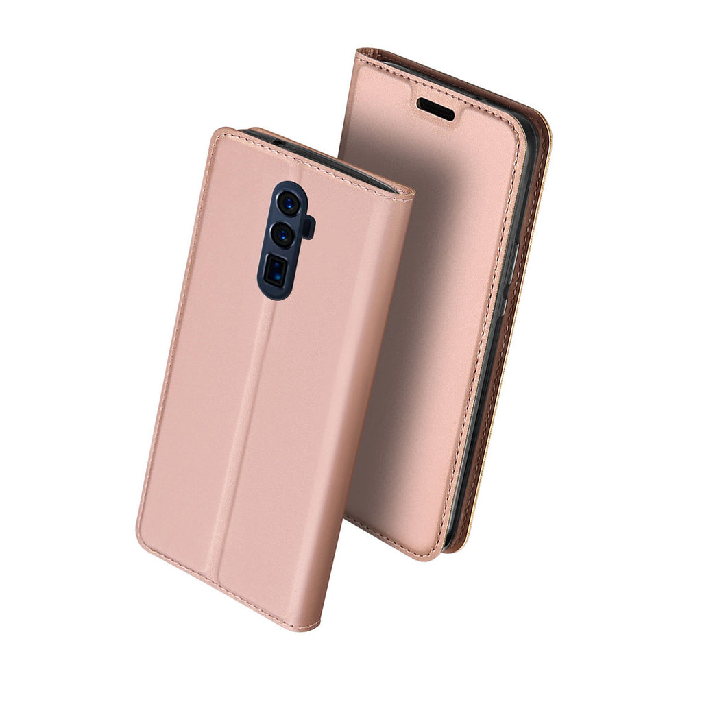 OPPO Reno 5G Leather Case Flip Wallet Card Case for Women Rose Gold