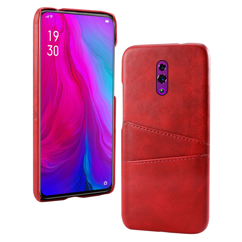 OPPO Reno Case PC Thicken Shockproof Ultra Thin Cover Card Slots Case Red