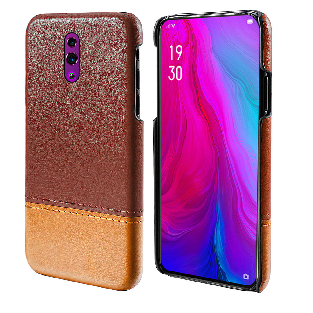 OPPO Reno Hard Case Drop Resistance PU Leather Splicing Back Cover Brown+Light Brown