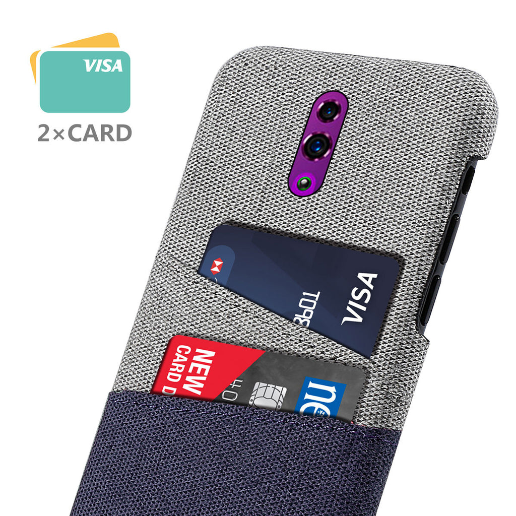 OPPO Reno PC Case Felt Fabric Thin Dual Card Slots Shockproof Cover Blue