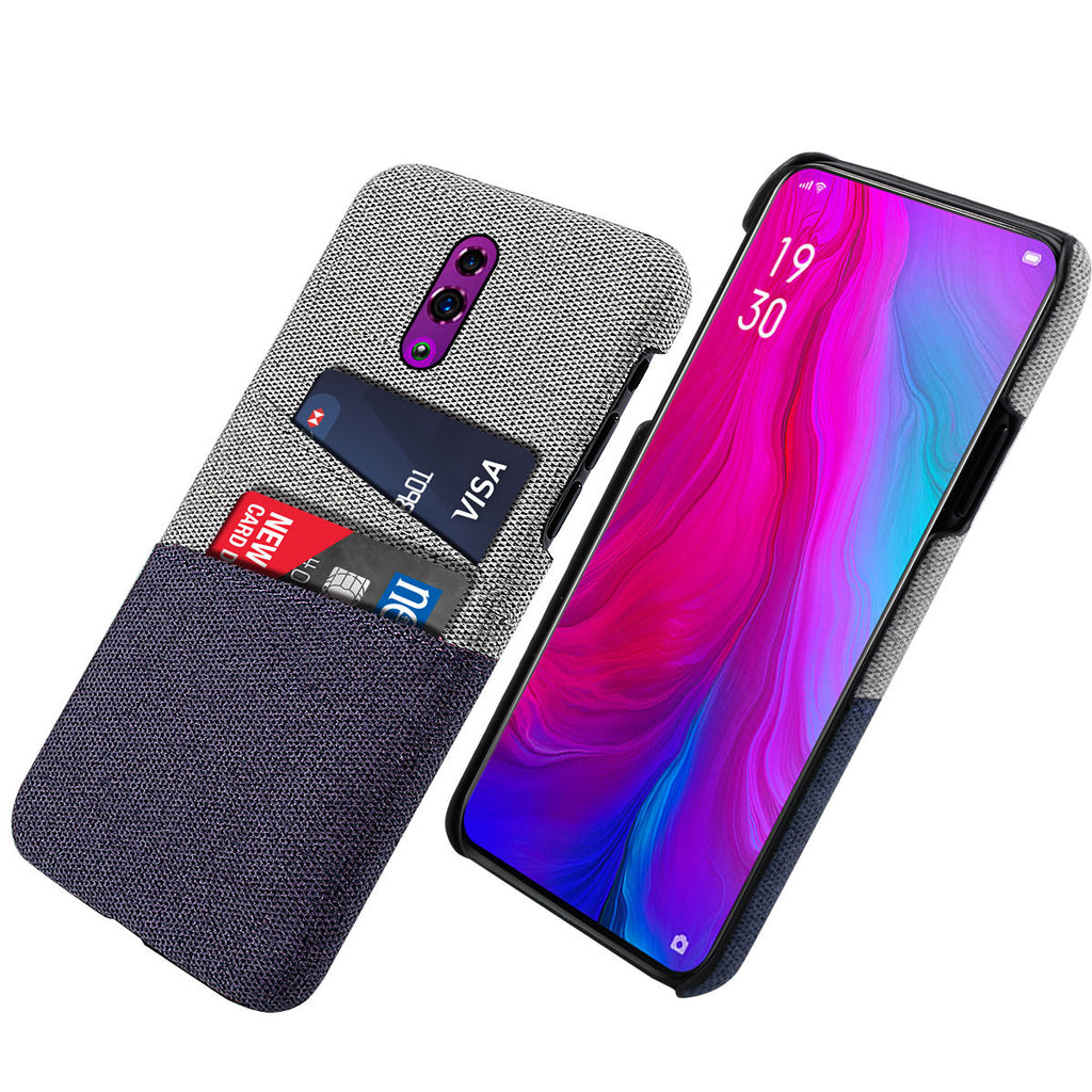 OPPO Reno Case Fabric Thin Dual Card Holder Shockproof Cover Blue