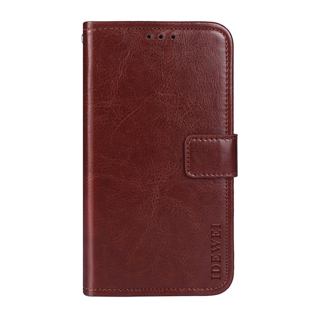 Realme 3 Leather Case Grain Flip Cover Wallet with Card Slots & Stand Brown