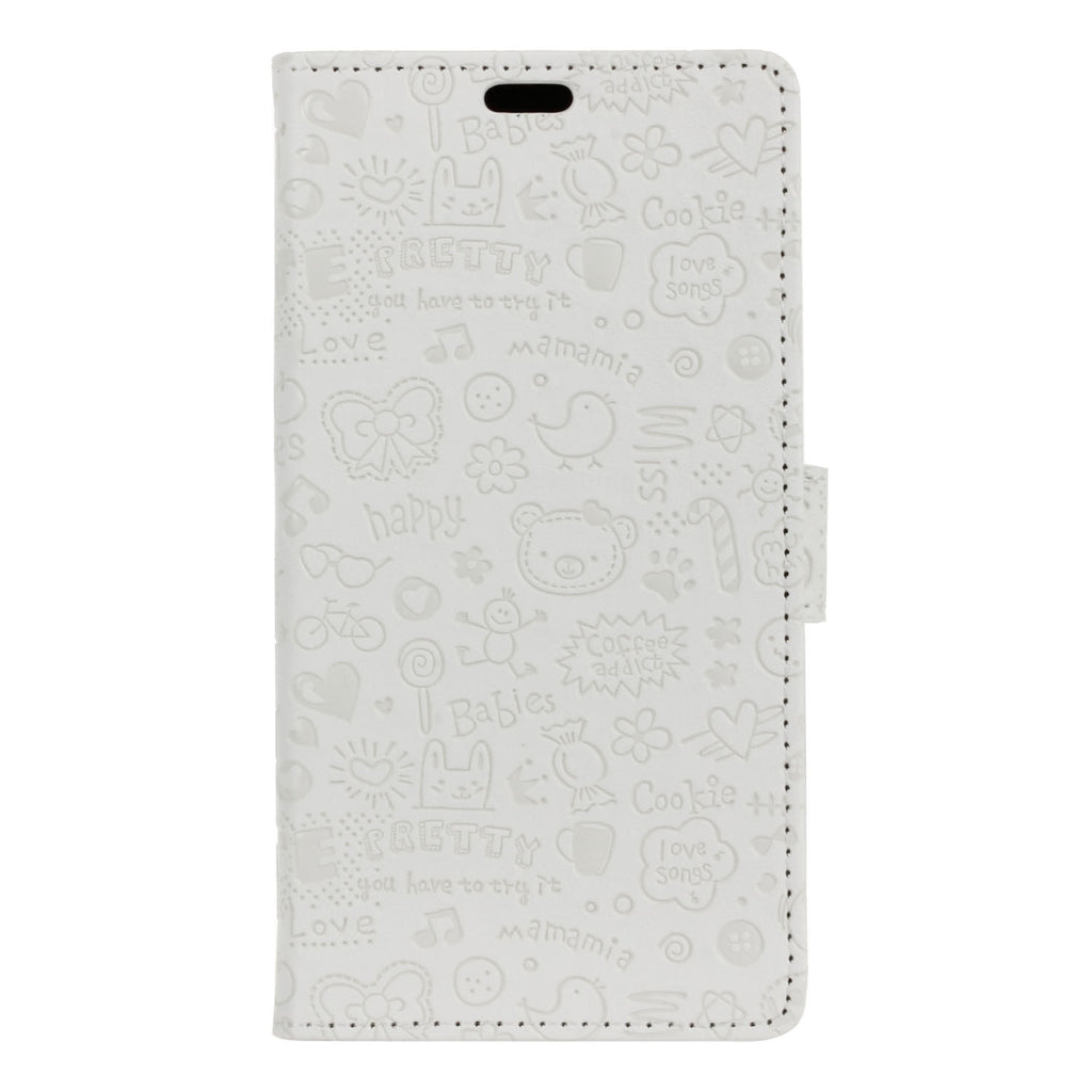 Oneplus 7 Pro Leather Case Folio Stand Cute Succuba Wallet with Credit Card Slots White