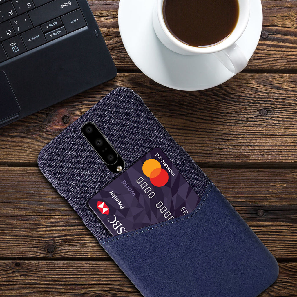 OnePlus 7 Case Ultra Thin Fabric Splicing Phone Cover with Credit Card Slot Dark Blue