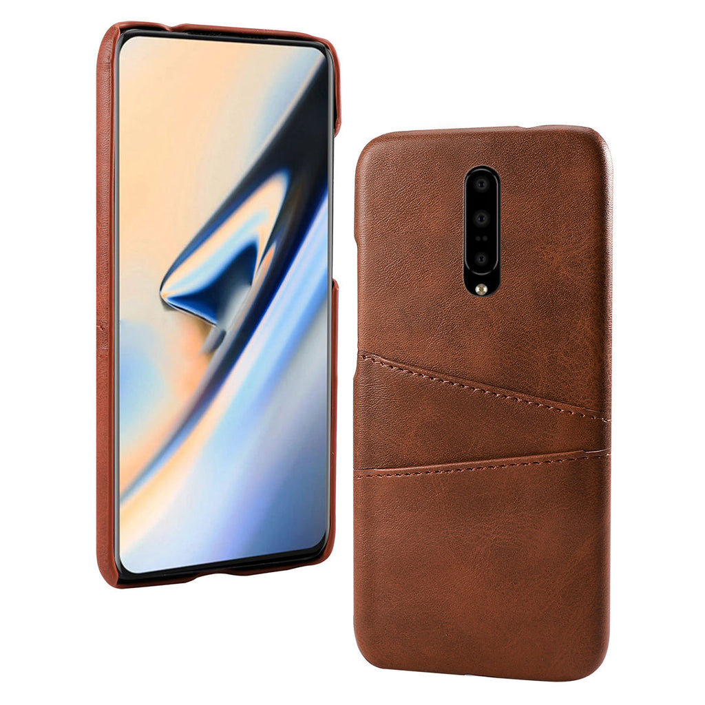 Oneplus 7 cases with card slots PU leather hard back cover brown