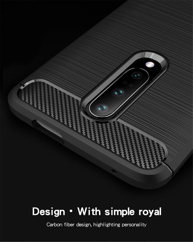 Oneplus 7 Pro Case Carbon Fiber Drop-proof TPU Bumper Ultra Slim Case Blue