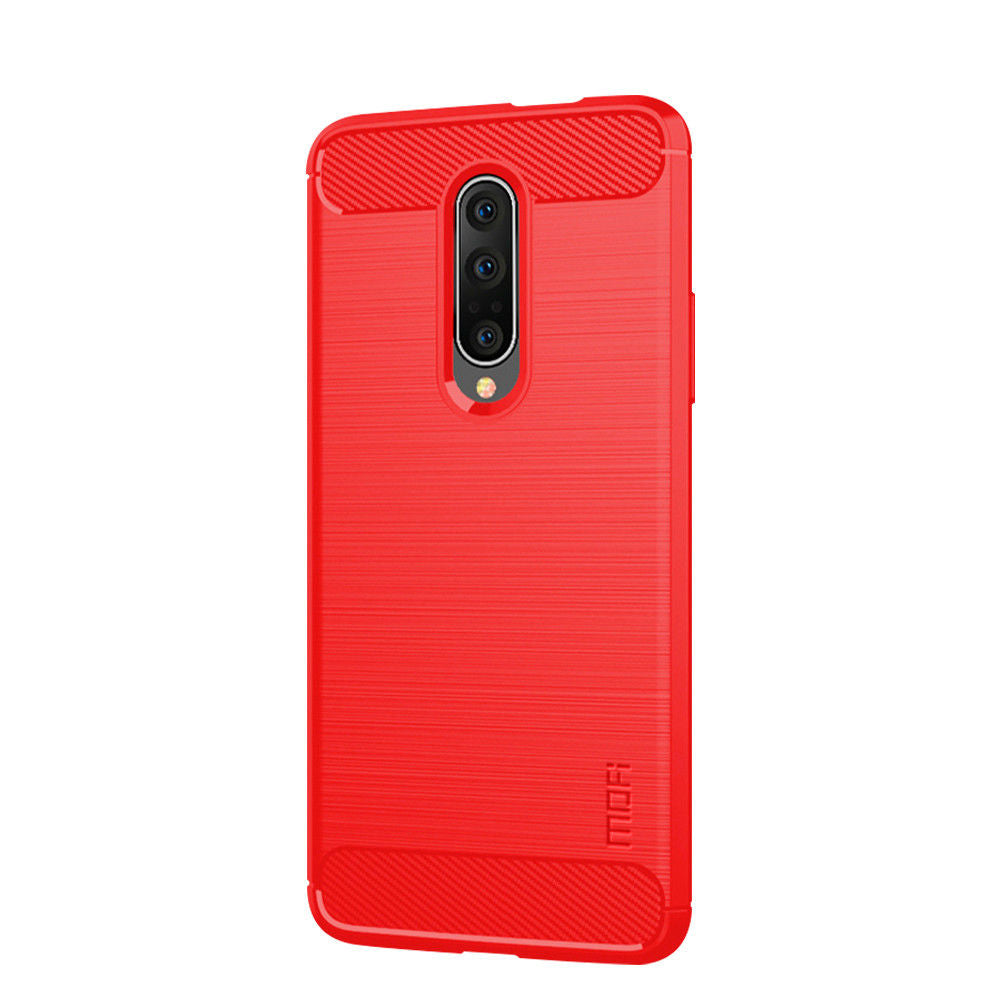 Oneplus 7 Pro Case Ultra Thin Shock Absorption Carbon Fiber Cover Red