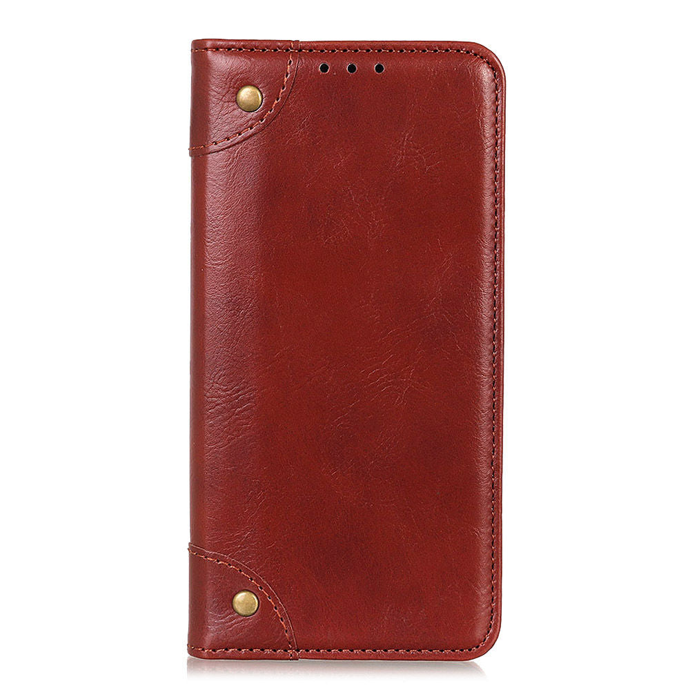 Oneplus 7 Pro Leather Case Copper Buckle PU Cover with Credit Card Slots Brown
