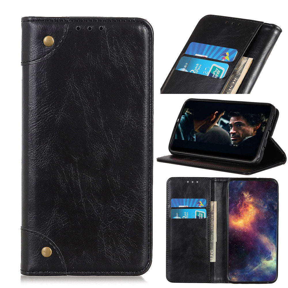 Oneplus 7 Pro Wallet Case Copper Buckle with Card Slots Magnetic Closure Black