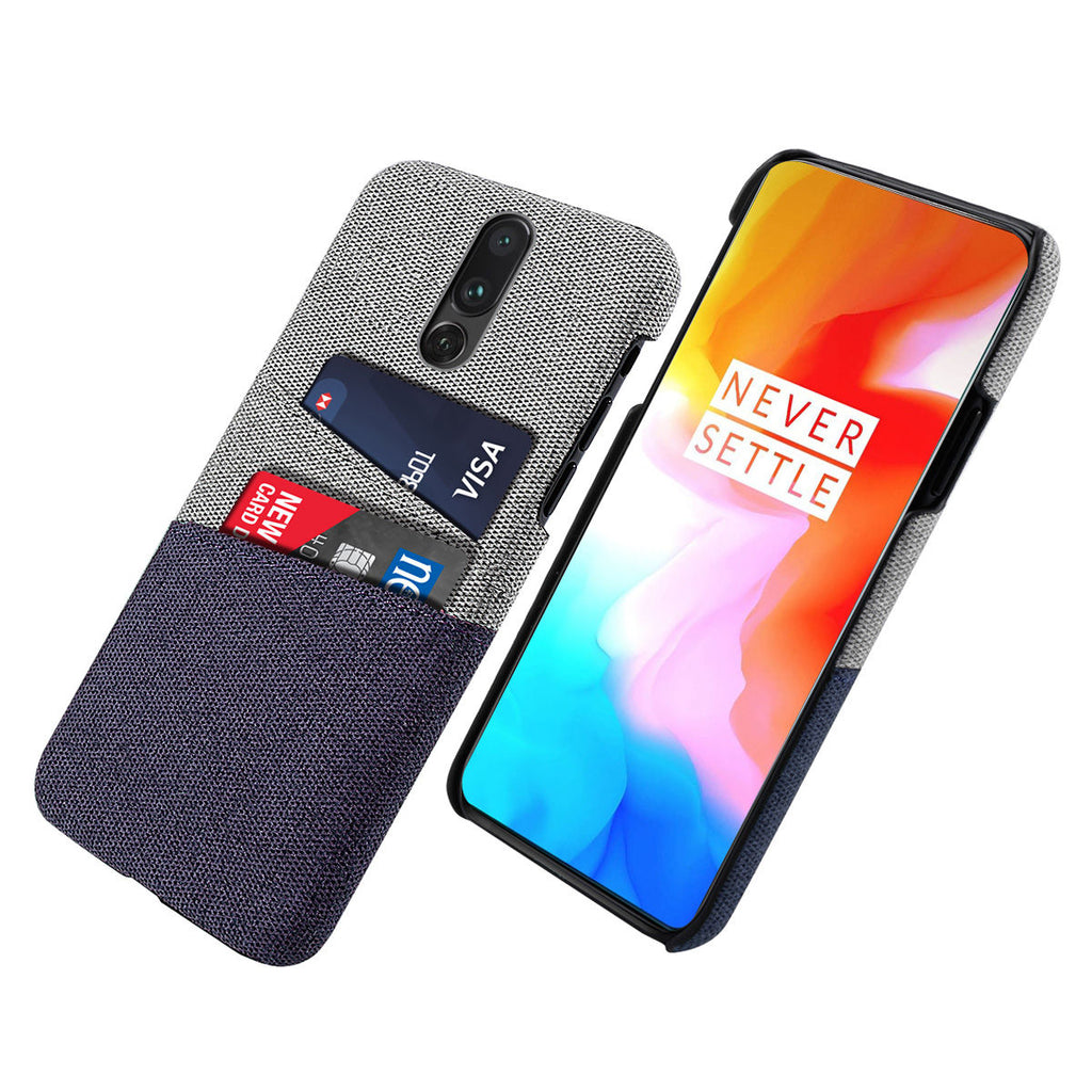 OnePlus 7 Pro Case PC & Felt Cloth Scratch-Resistant Rugged Hard Case Blue