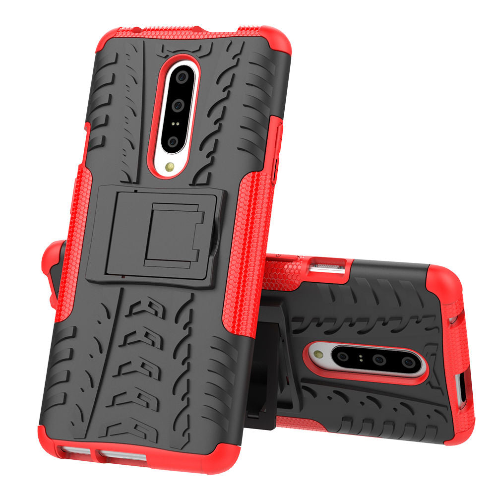 Oneplus 7 Pro Case 2 in 1 Heavy Duty Protection Kickstand Shockproof Case Red