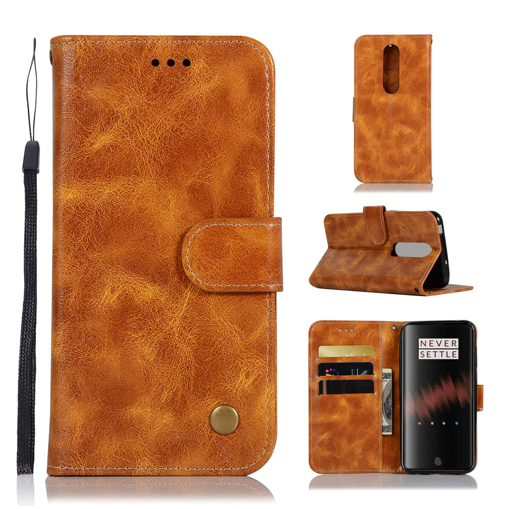 Oneplus 7 Pro Leather Case Retro Phone Wallet with Kickstand & Magnetic Closure Light Brown