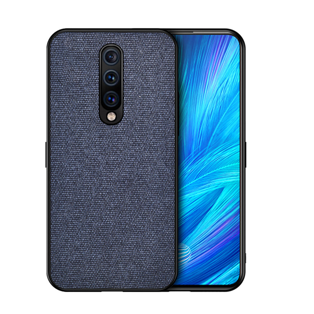 Oneplus 7 Pro Case Fabric Hybrid Bumper Phone Protective Cover Blue