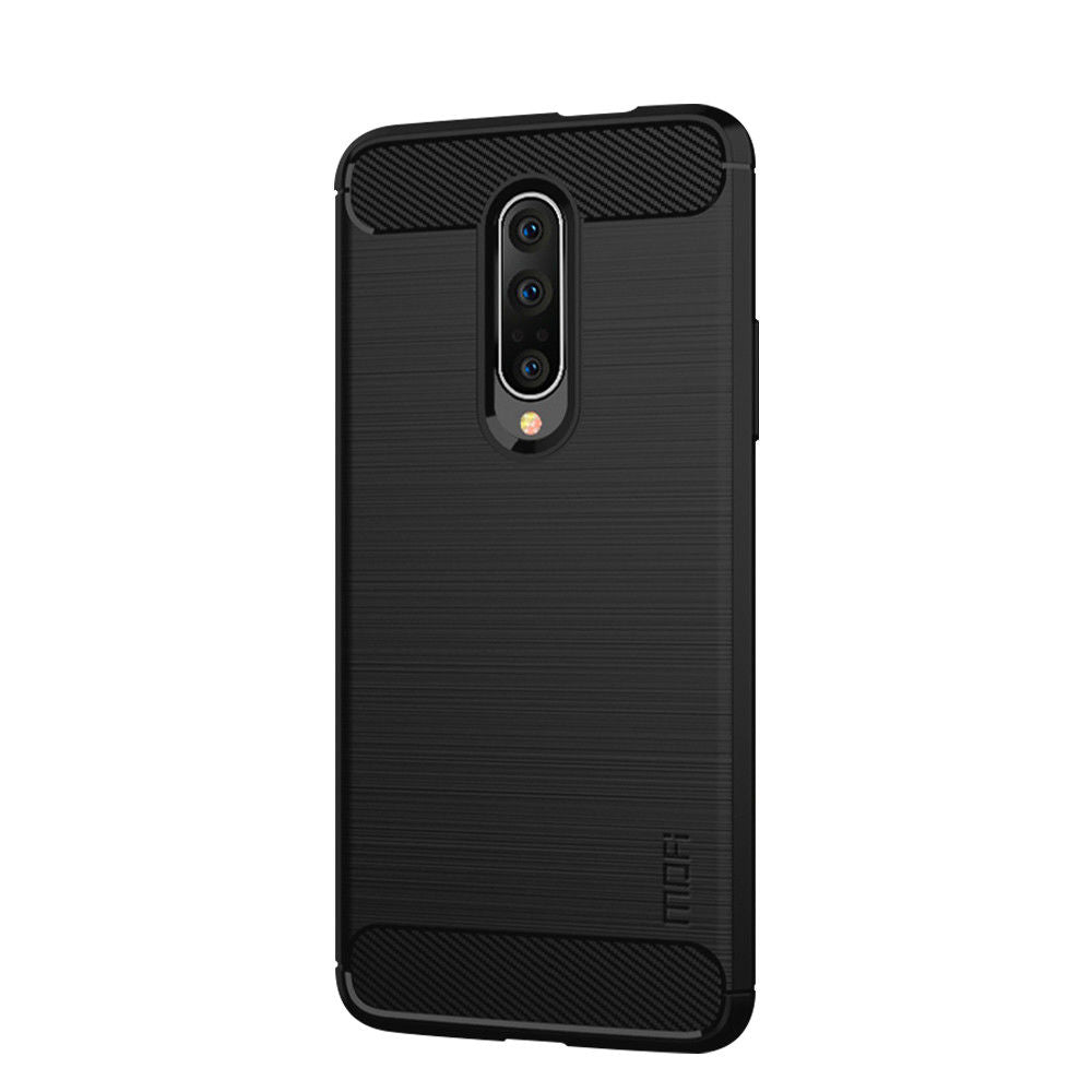 Case for Oneplus 7 Pro Carbon Fiber Drop-proof TPU Bumper Ultra Slim Case Black