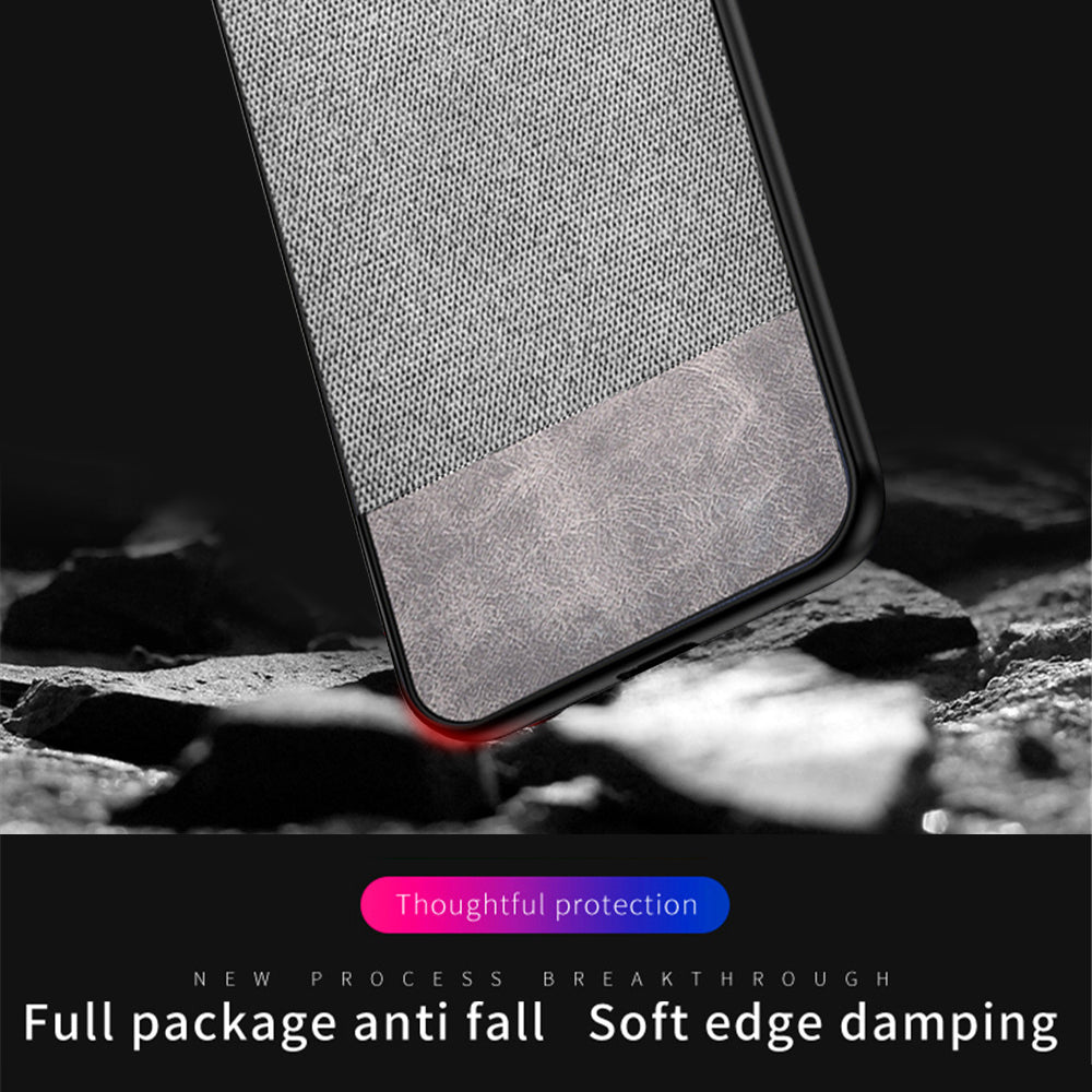 Oneplus 7 Pro Case PC + Cloth + PU Spilicing Shock Resistant Back Cover Grey