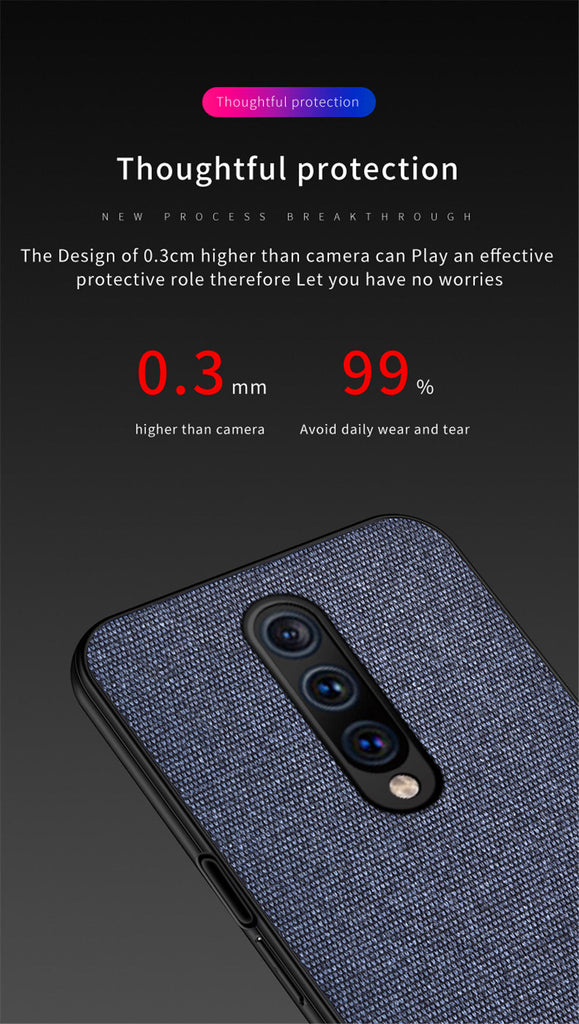 Oneplus 7 Pro Case PC + Cloth + PU Spilicing Drop-proof Back Cover Red for Women